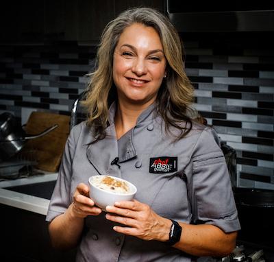 Chef Abbie with vegan rice pudding